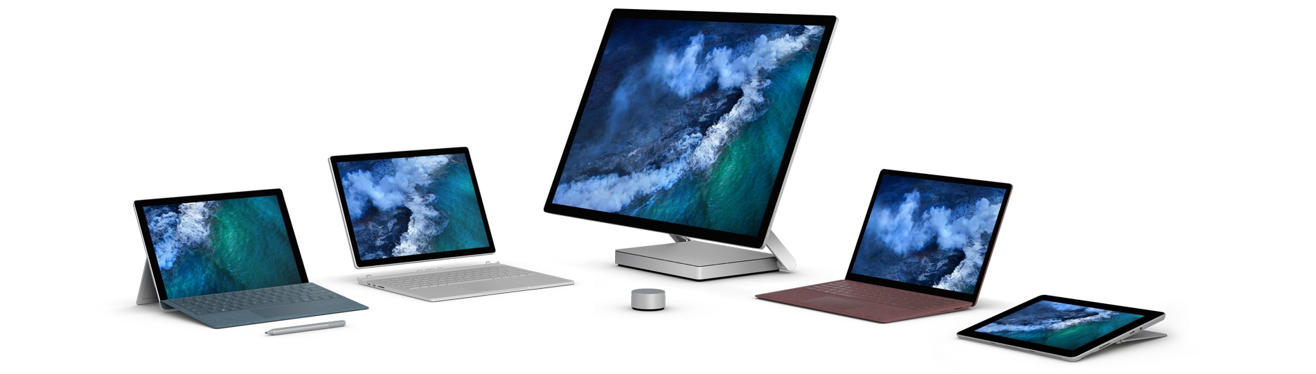 The Surface family, including Surface Pro, Surface Book 2, Surface Studio, Surface Laptop, and Surface Go
