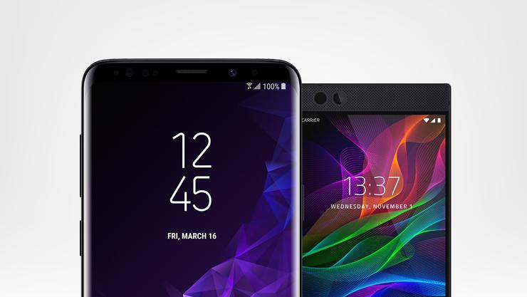 A Samsung Galaxy S9 and a Razer phone