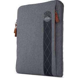 Left front side-angled view of the STM Ridge Sleeve 15″ Grey
