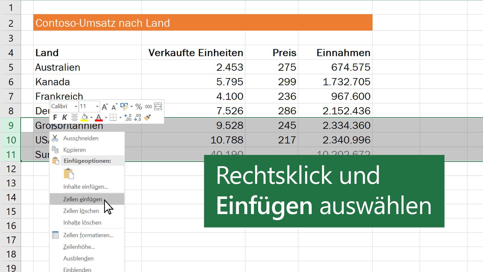 Video: Einfügen und Löschen von Zeilen oder Spalten - Excel