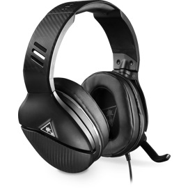 Front side view of Turtle Beach Recon 200 Gaming Headset for Xbox One in black showing microphone