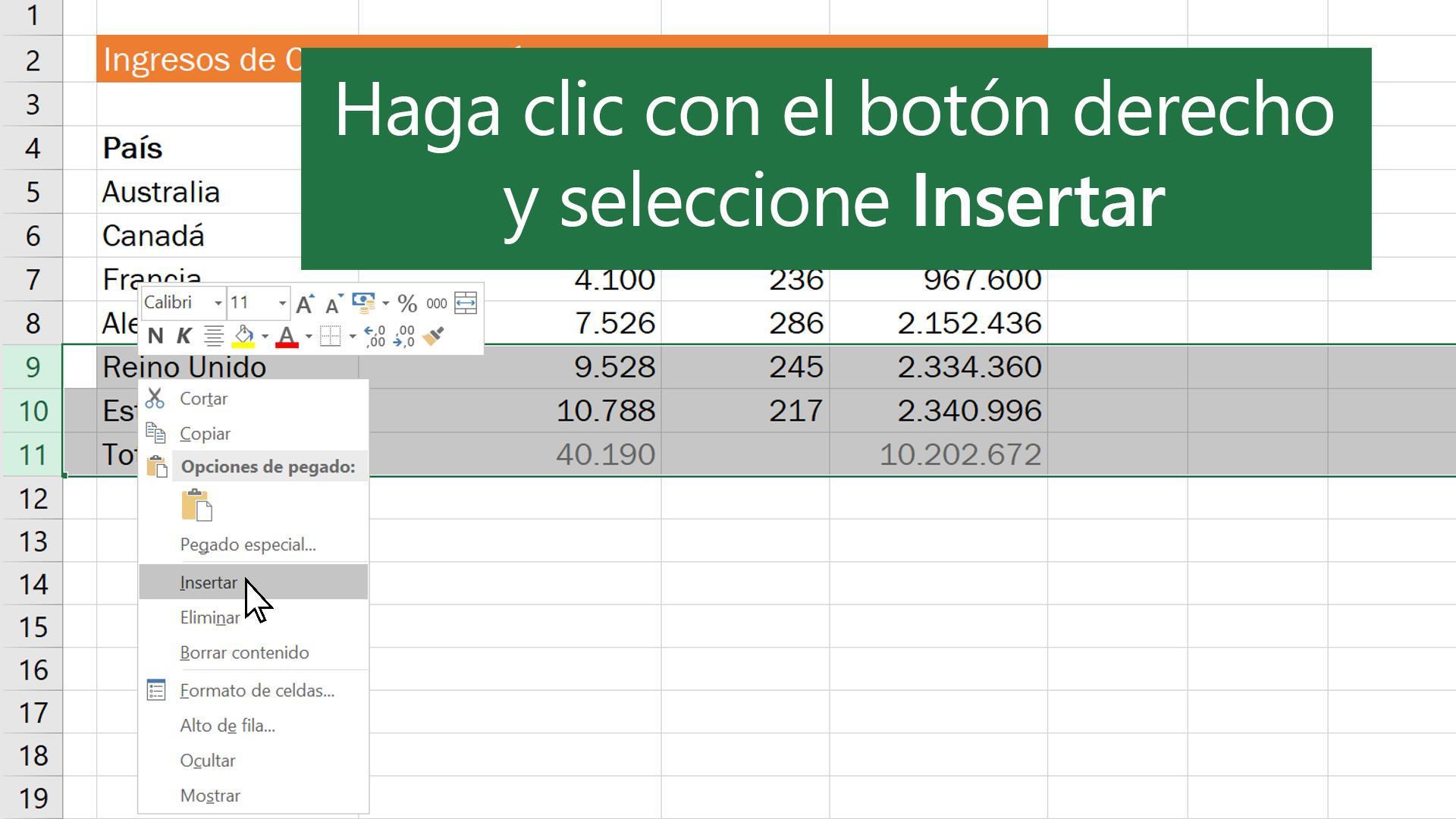 Vídeo: Insertar o eliminar filas o columnas - Excel