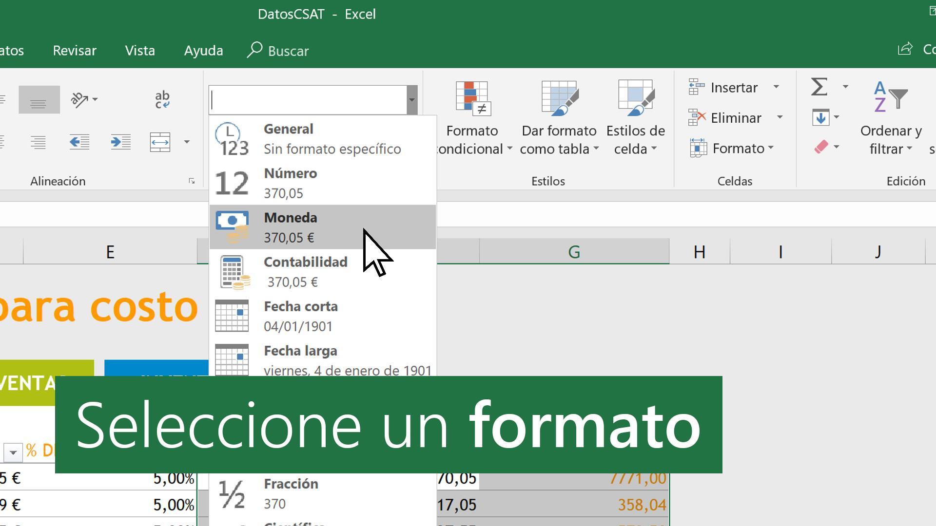 Formatos de número disponibles - Excel