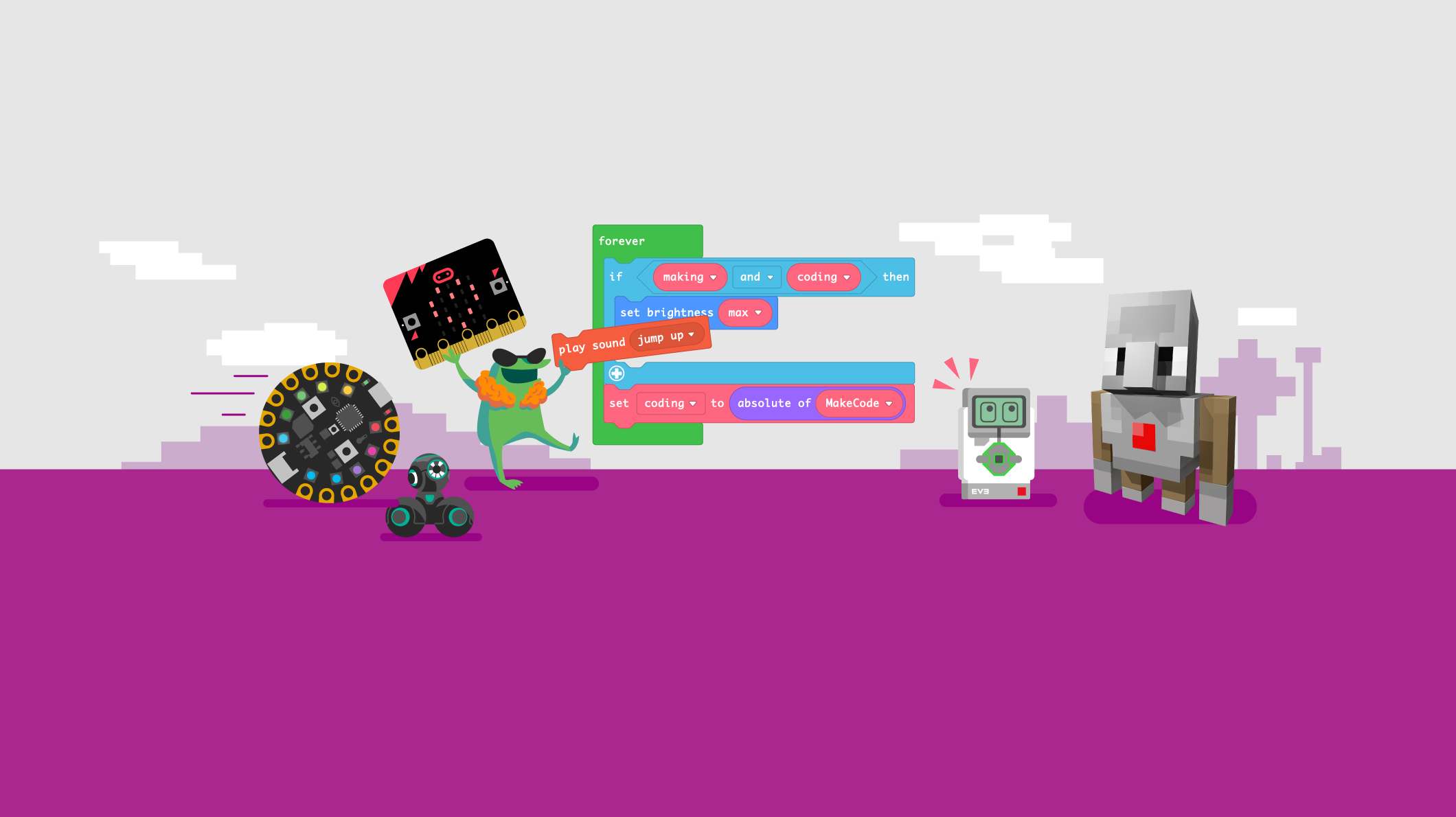 Hardware pieces used with MakeCode are all shown as illustrations, while an animated frog codes in a MakeCode editor.