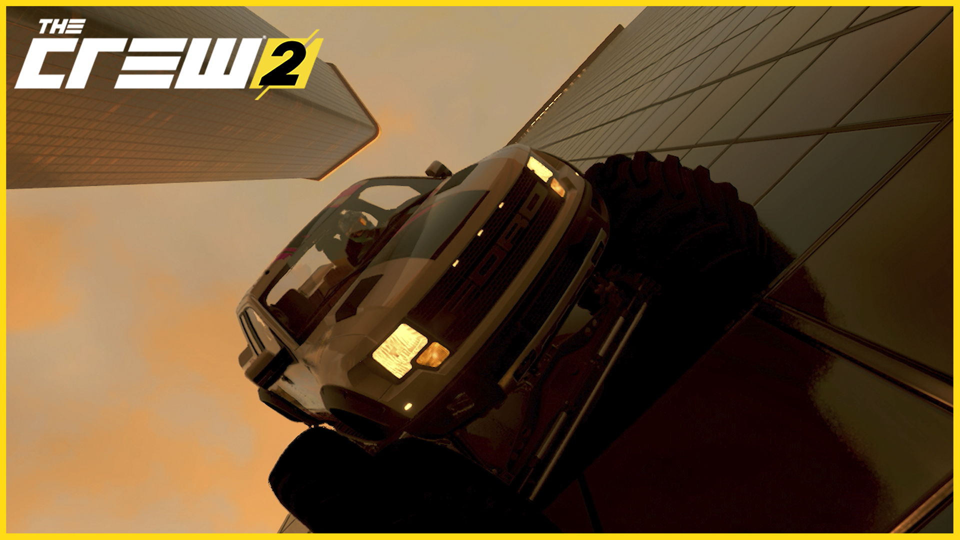 The Crew 2 A Ford Monster Truck Rides On Side Of Skyscraper