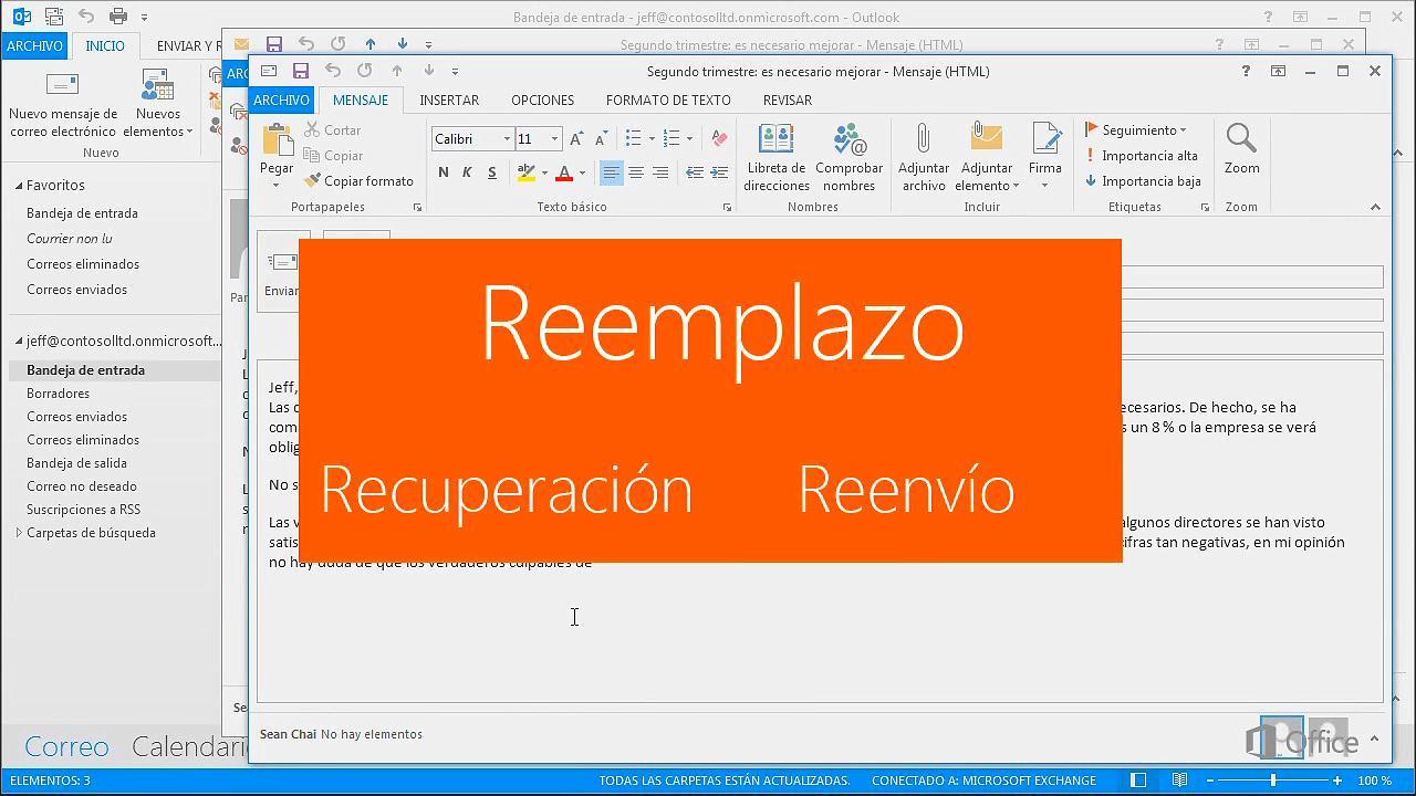 Recuperar y reemplazar mensajes enviados - Outlook