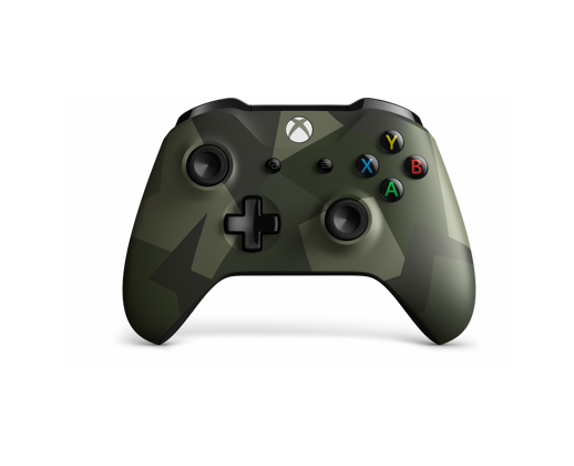 Xbox controller with a dark green modern camo design