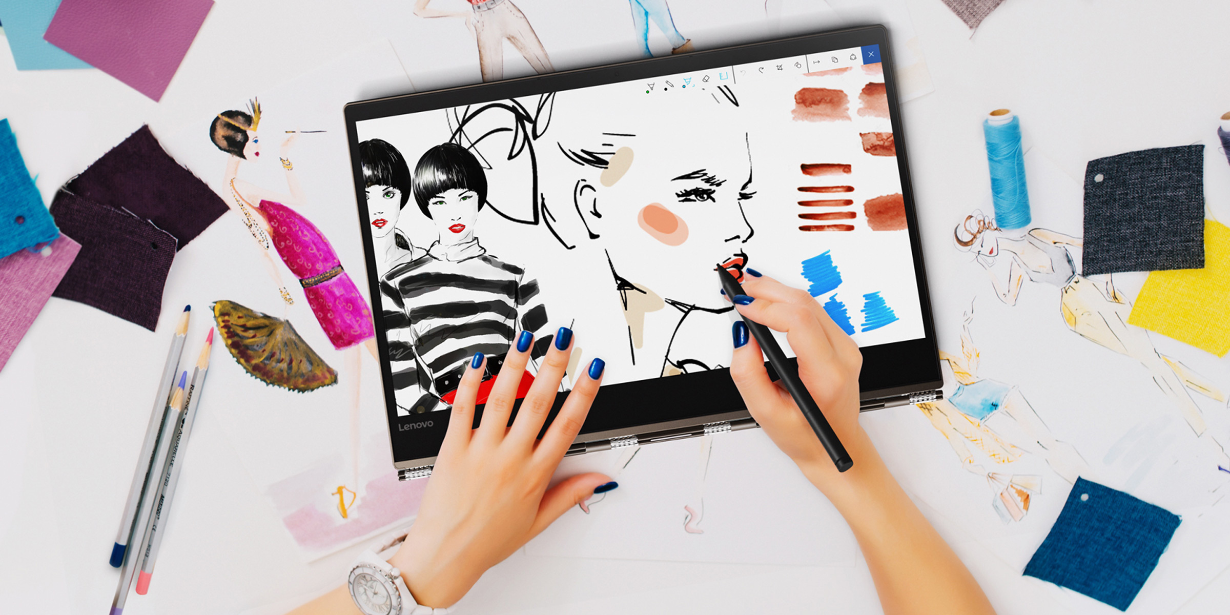 An illustration being created with a digital pen on a Lenovo Yoga 920 in tablet mode.