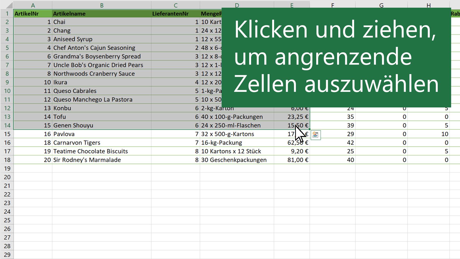Auswählen von Zellinhalten in Excel - Office-Support