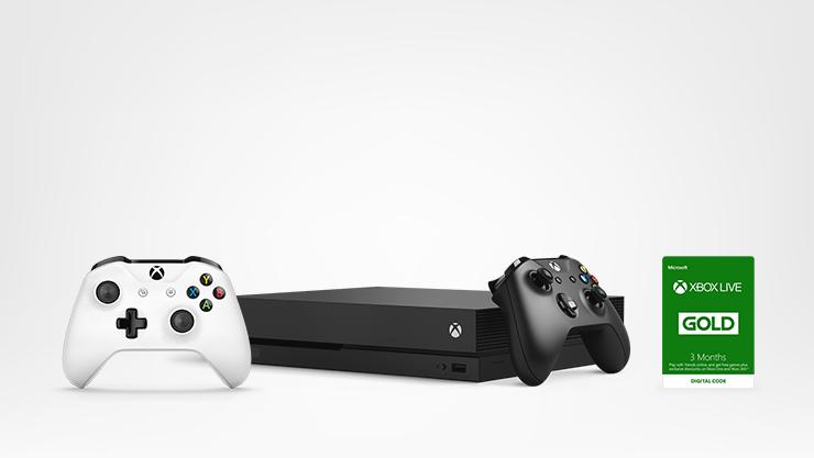 Xbox console avec manettes sans fil et Xbox Live Gold