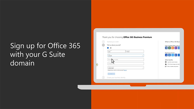 Sign up for Office 365 with your G Suite domain