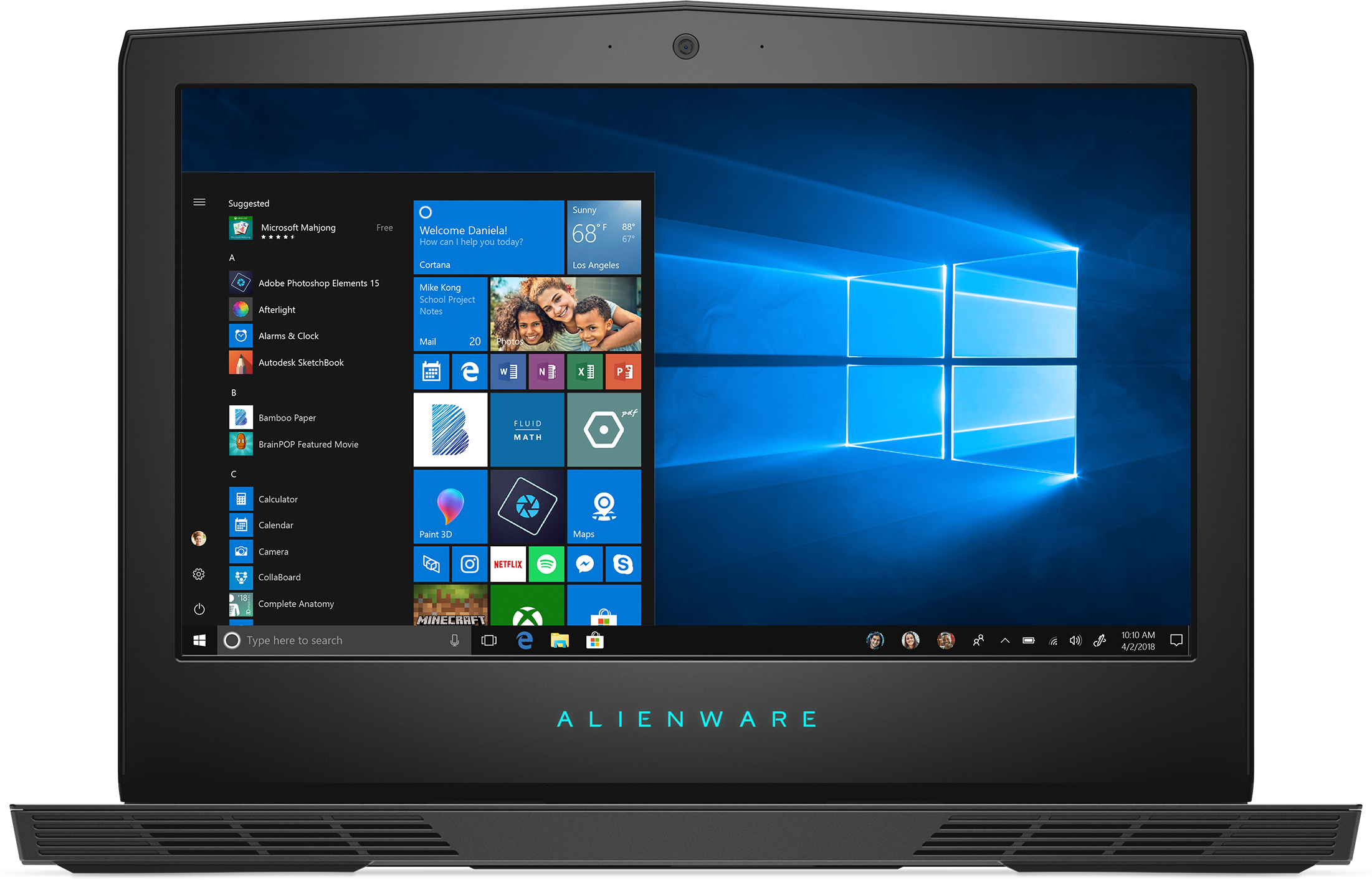 Front view of the Dell Alienware 15