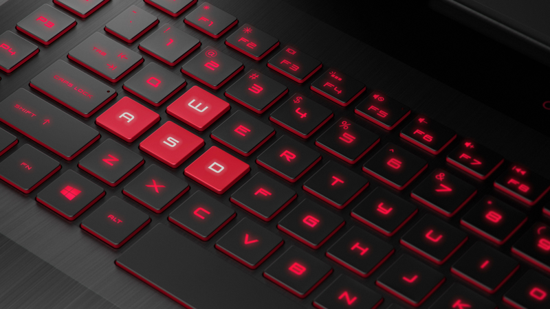 Zoom view of the HP OMEN Laptop 17 keyboard