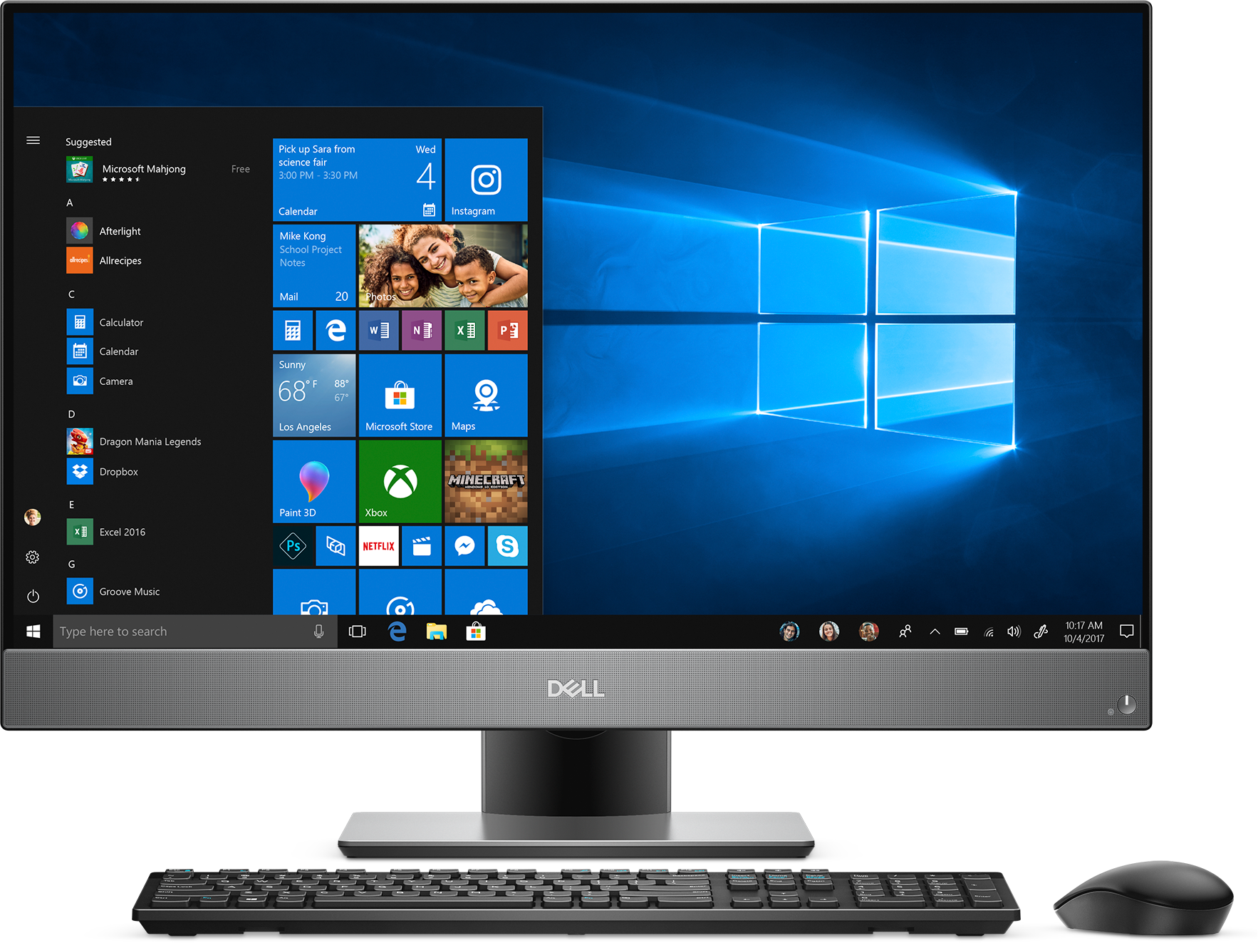 Frontal view of Dell Inspiron 7777 All-in-One including keyboard and mouse