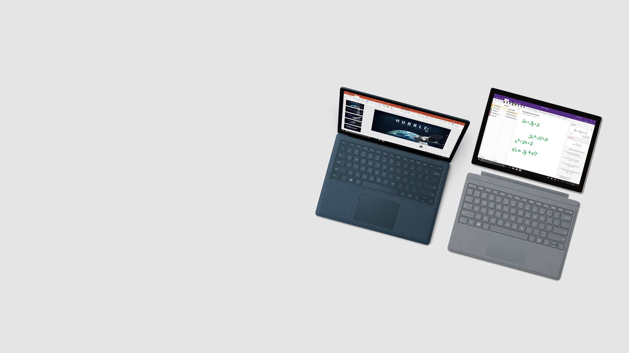 A Surface Laptop and a Surface Pro with education-focused screens