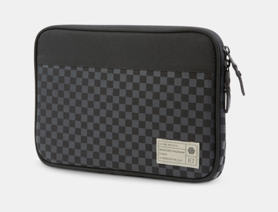 Front view of the HEX Mona Sleeve in black checker