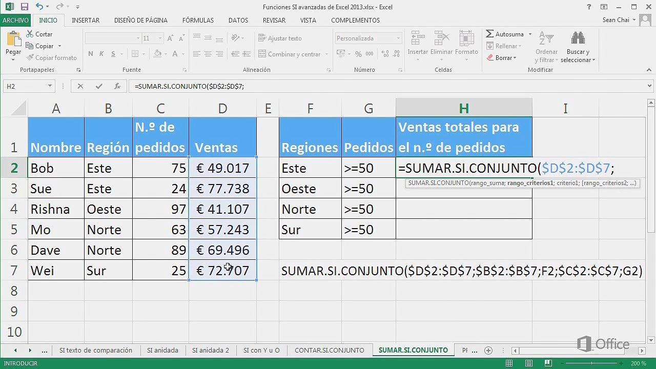 SUMAR.SI.CONJUNTO (función SUMAR.SI.CONJUNTO) - Soporte de Office