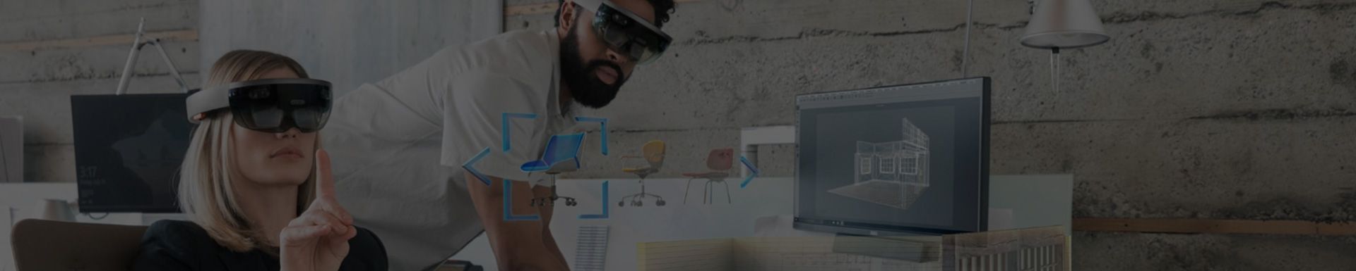 Muted photograph of two people wearing headsets and experiencing mixed reality
