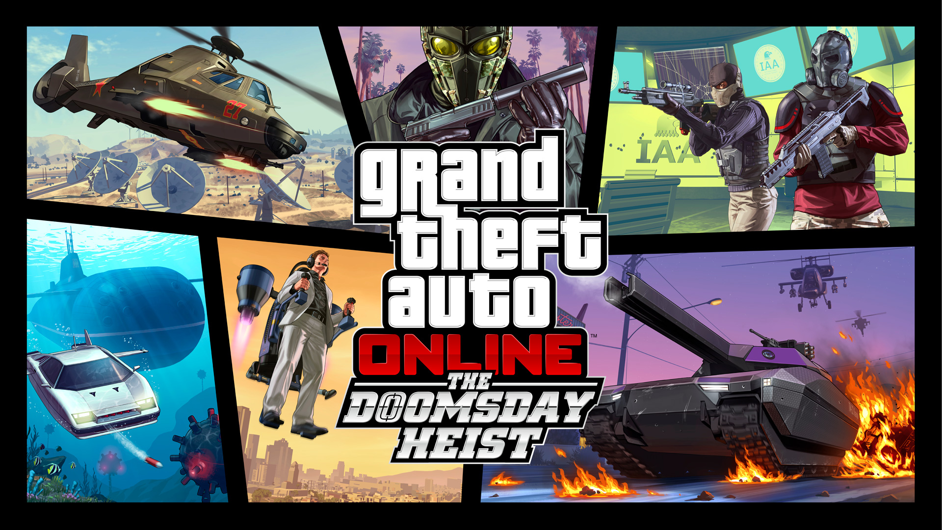 Play  C B Grand Theft Auto Online The Doomsday Heist Collage Of Multiple Scenes Where Criminals Use Guns