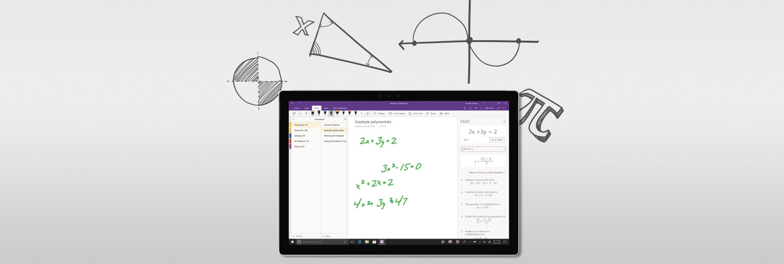 Laptops pcs tablets 2 in 1s phones desktops microsoft a surface device with onenote open and equations written on the screen ccuart Image collections
