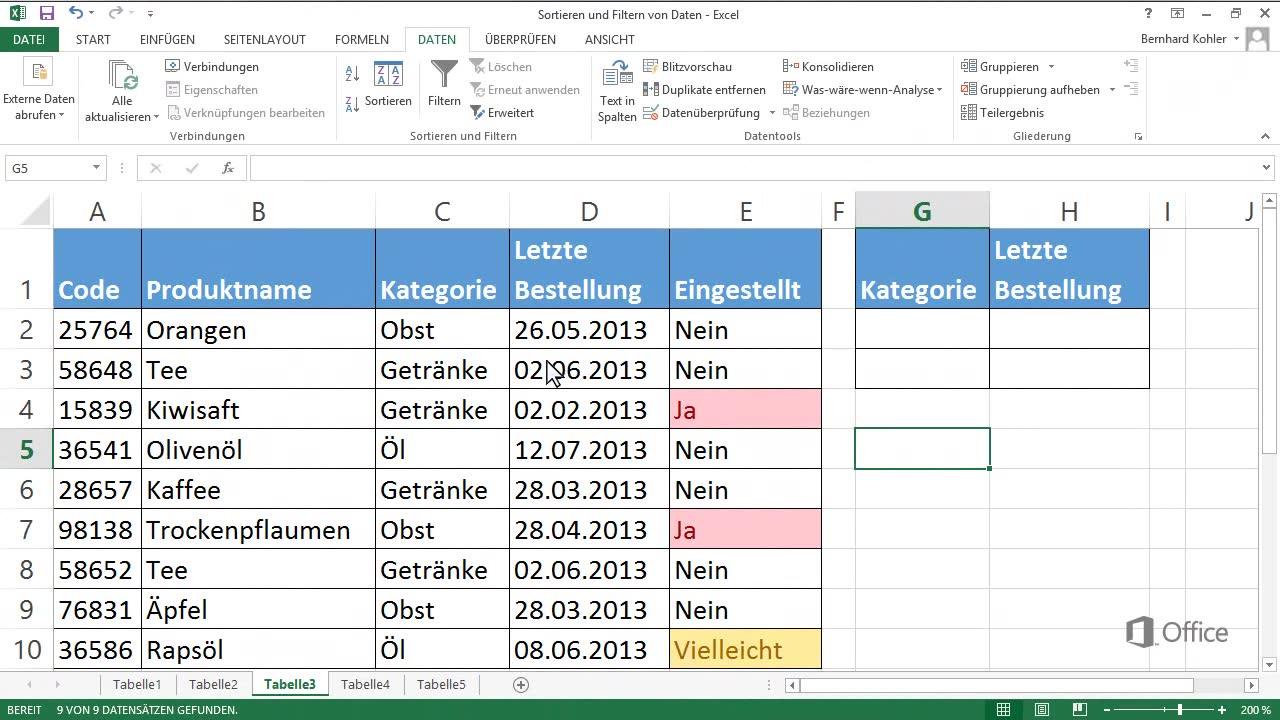 Video: Details zum erweiterten Filtern - Excel