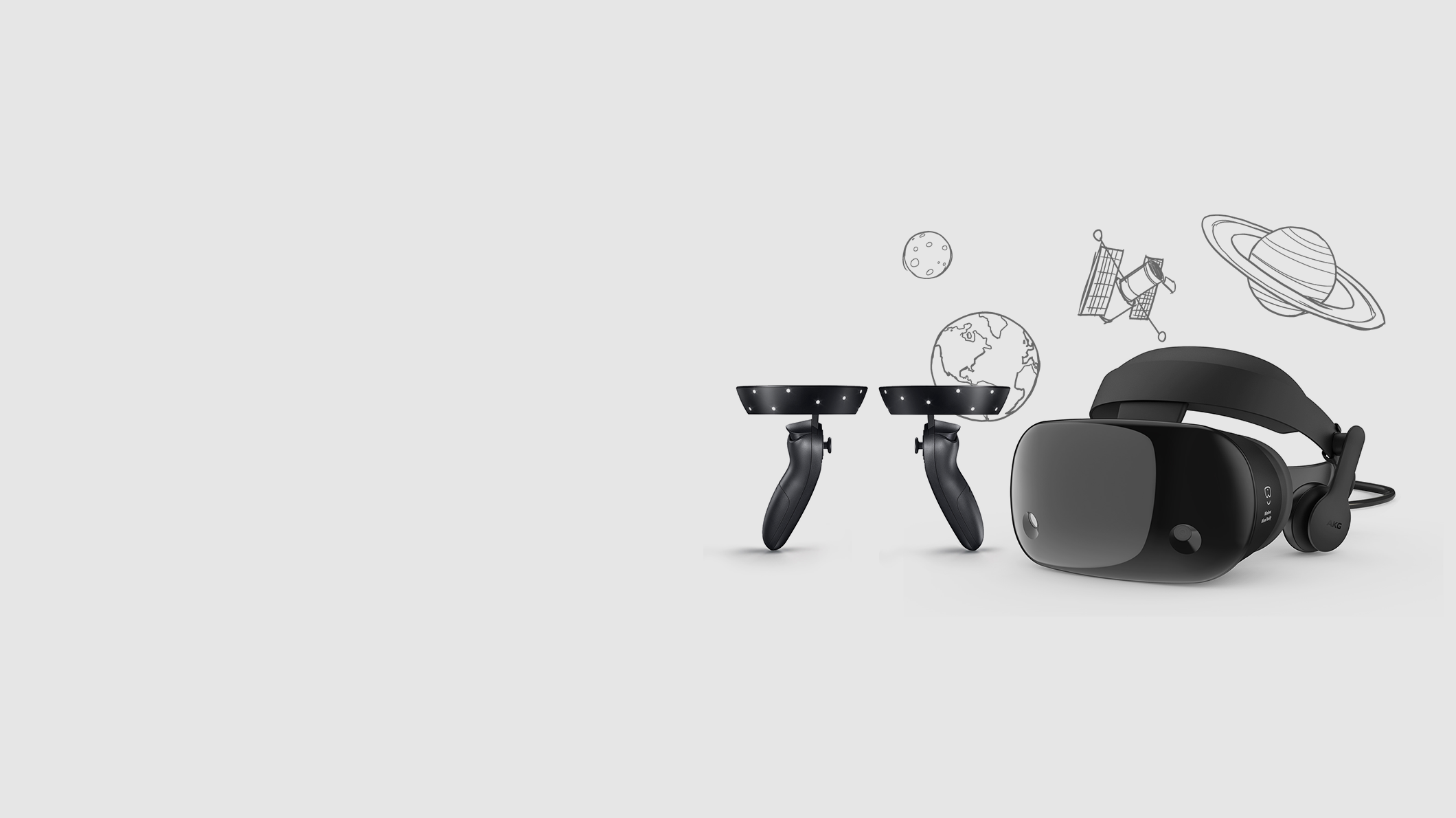 A Samsung Odyssey headset and controllers