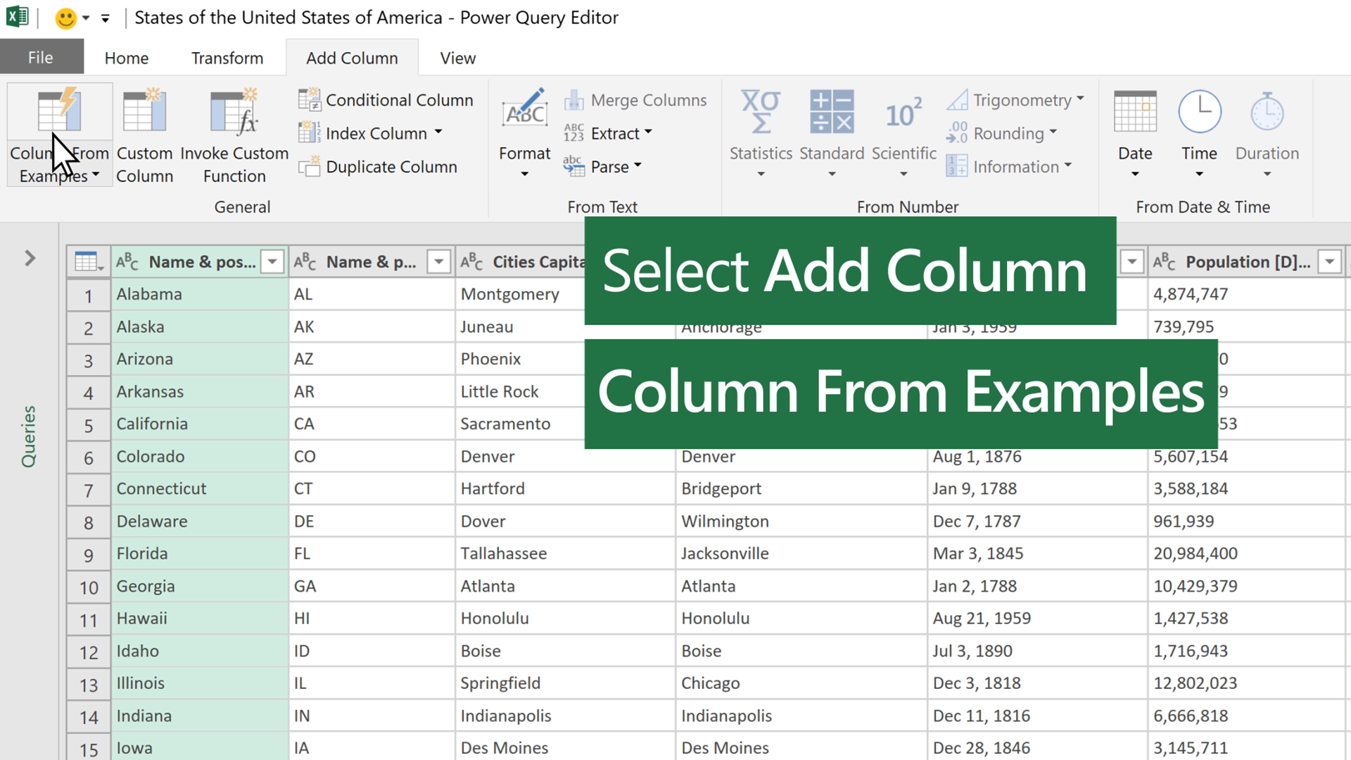Add a column from an example
