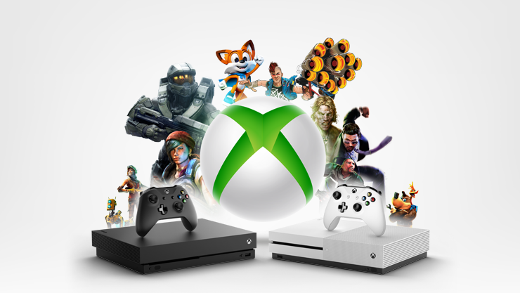 An Xbox One X, an Xbox One S, two controllers, and the Xbox logo surrounded by characters from games.