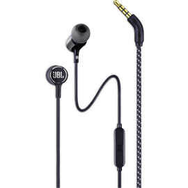 Closeup view of the JBL Live 100 earplugs and the 3.5mm plug