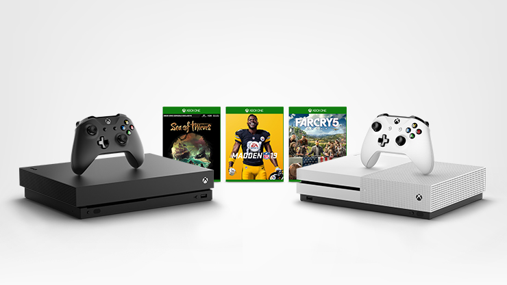 Xbox One X and Xbox One S with three games