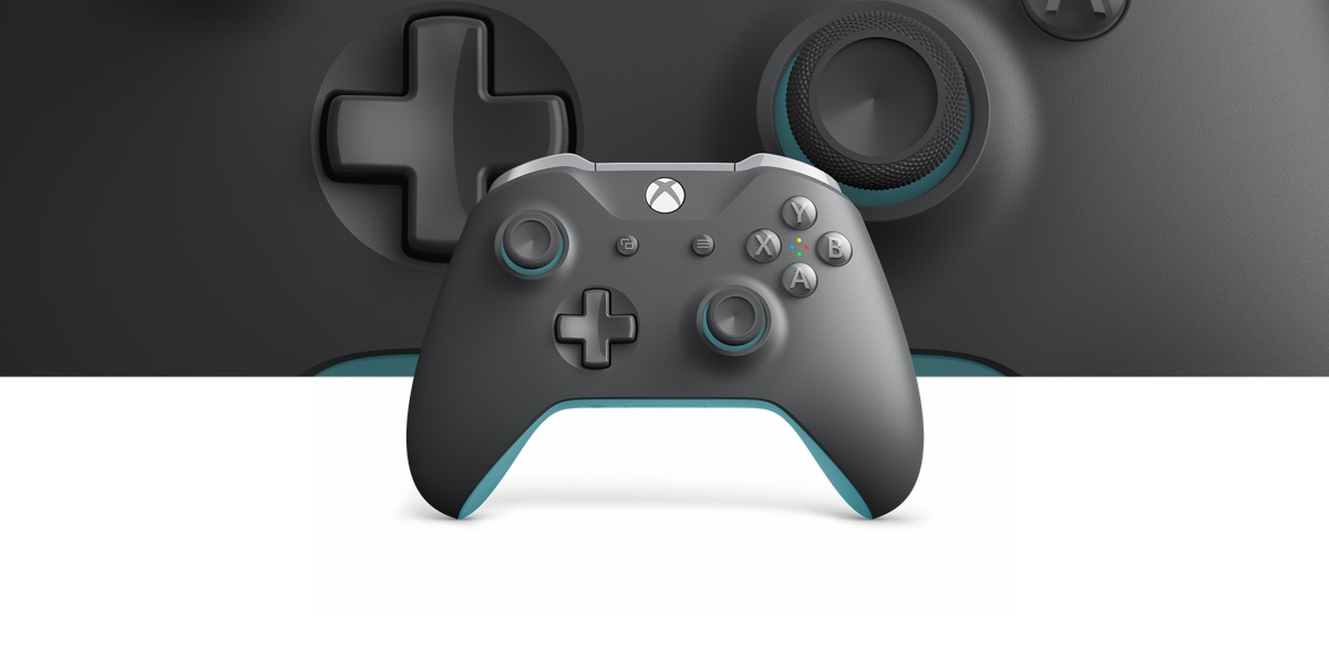 Grey and Blue Xbox One wireless controller