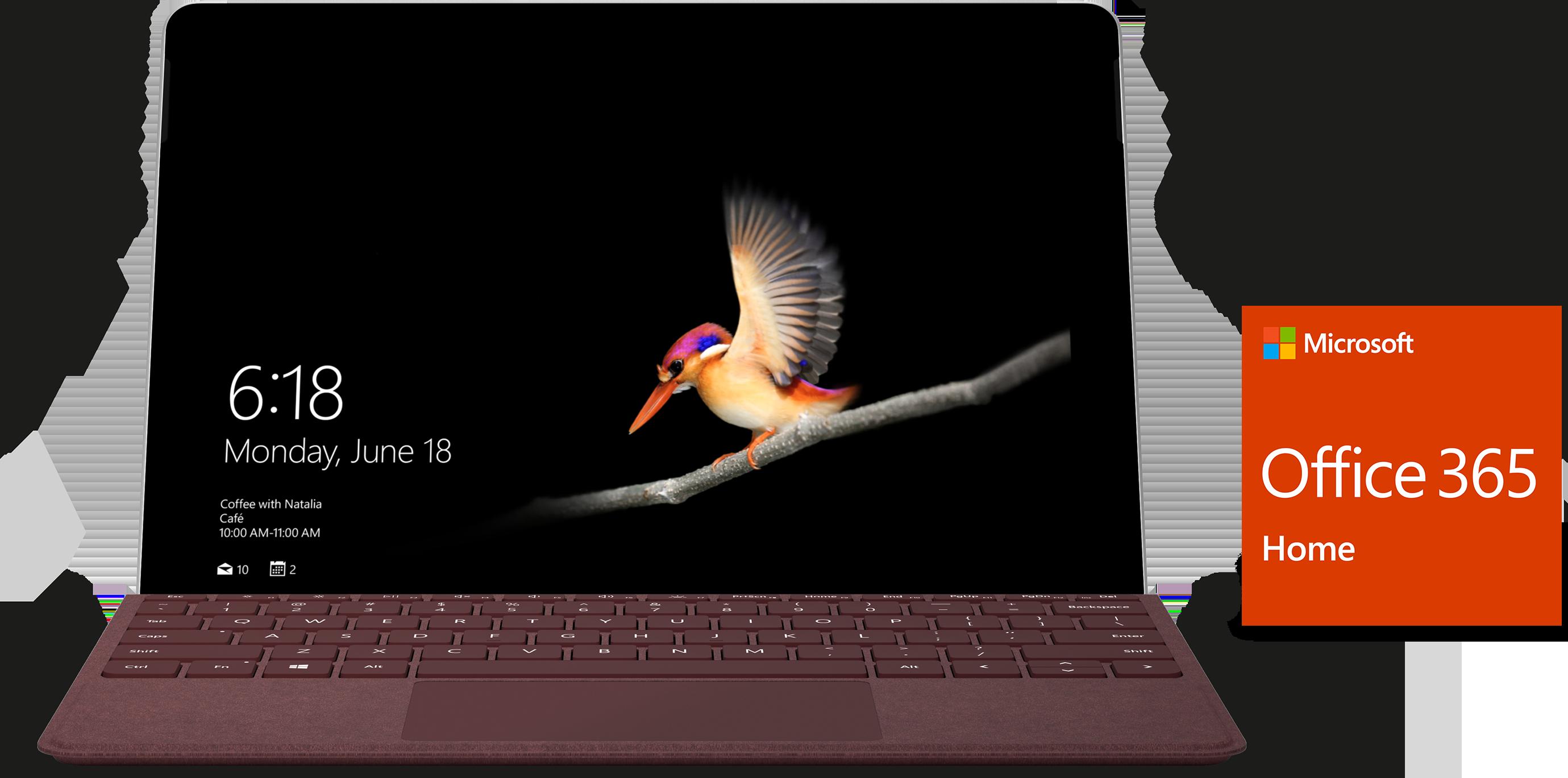 Vista frontale di Surface Go con cover con tasti e logo Office 365