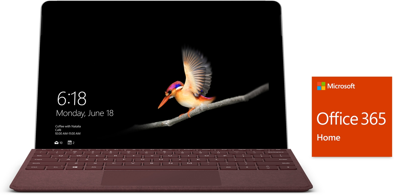 Surface Go med Type Cover og Office 365-logo sett forfra