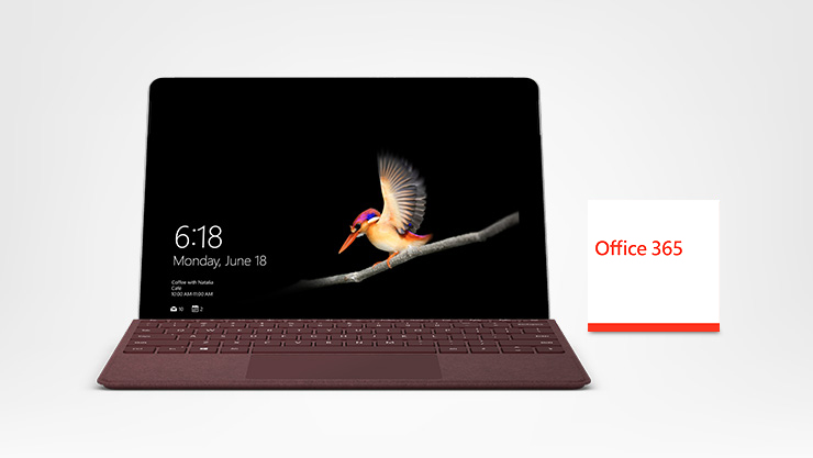 Surface Go met Type Cover en Office 365