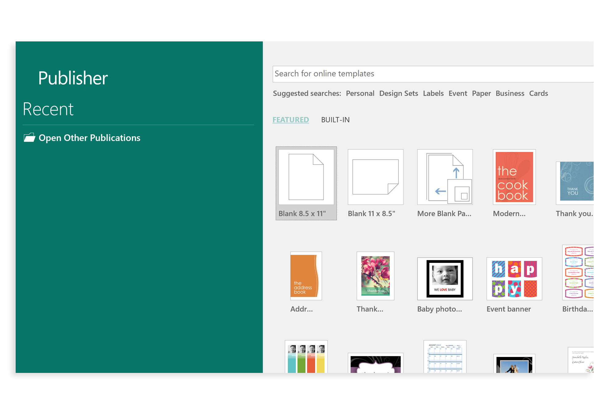 Publisher app window showing a wide range of templates