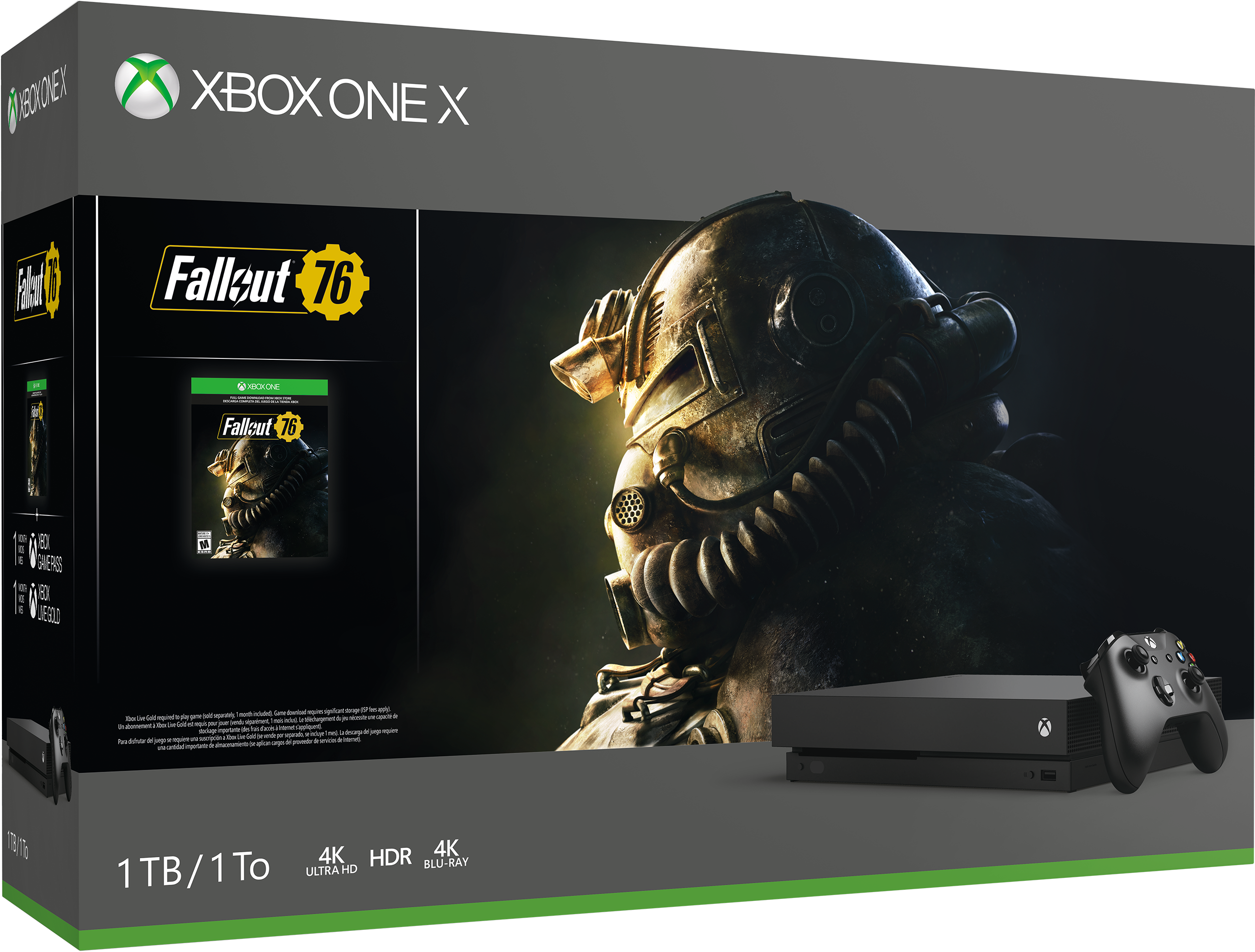 Xbox One X Fallout 76 Bundle with a generic game box
