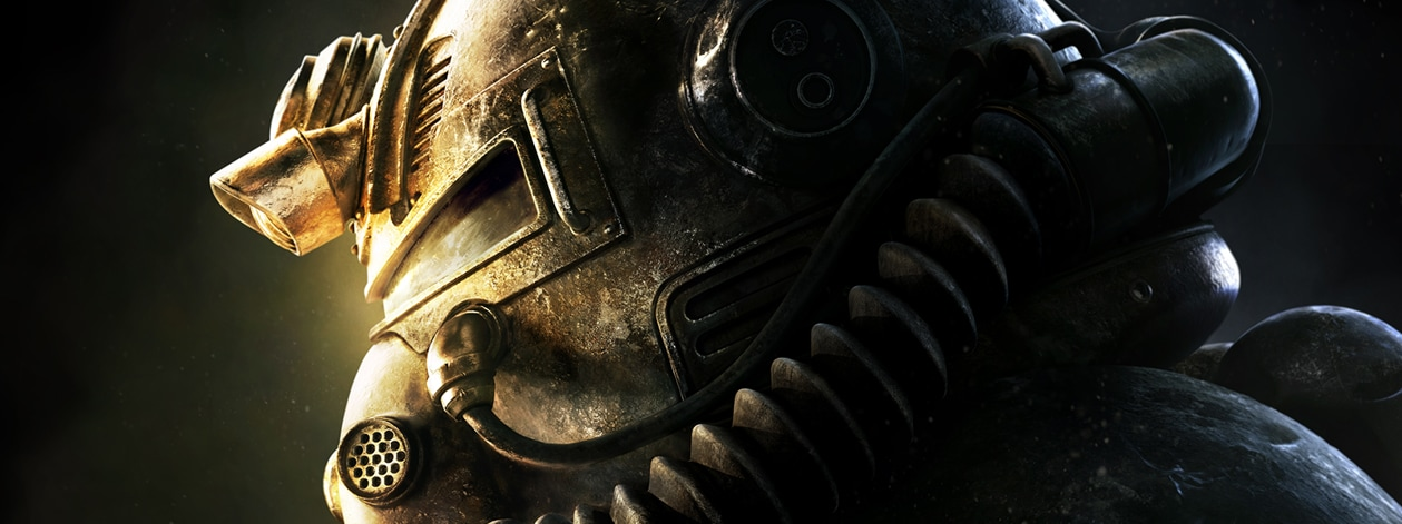 Fallout 76, Close up side view of a Power Armor Helmet