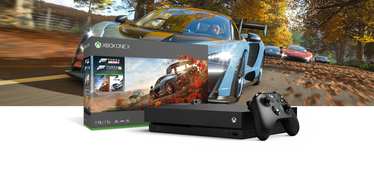 xbox one x forza horizon 4 bundle 1tb microsoft. Black Bedroom Furniture Sets. Home Design Ideas