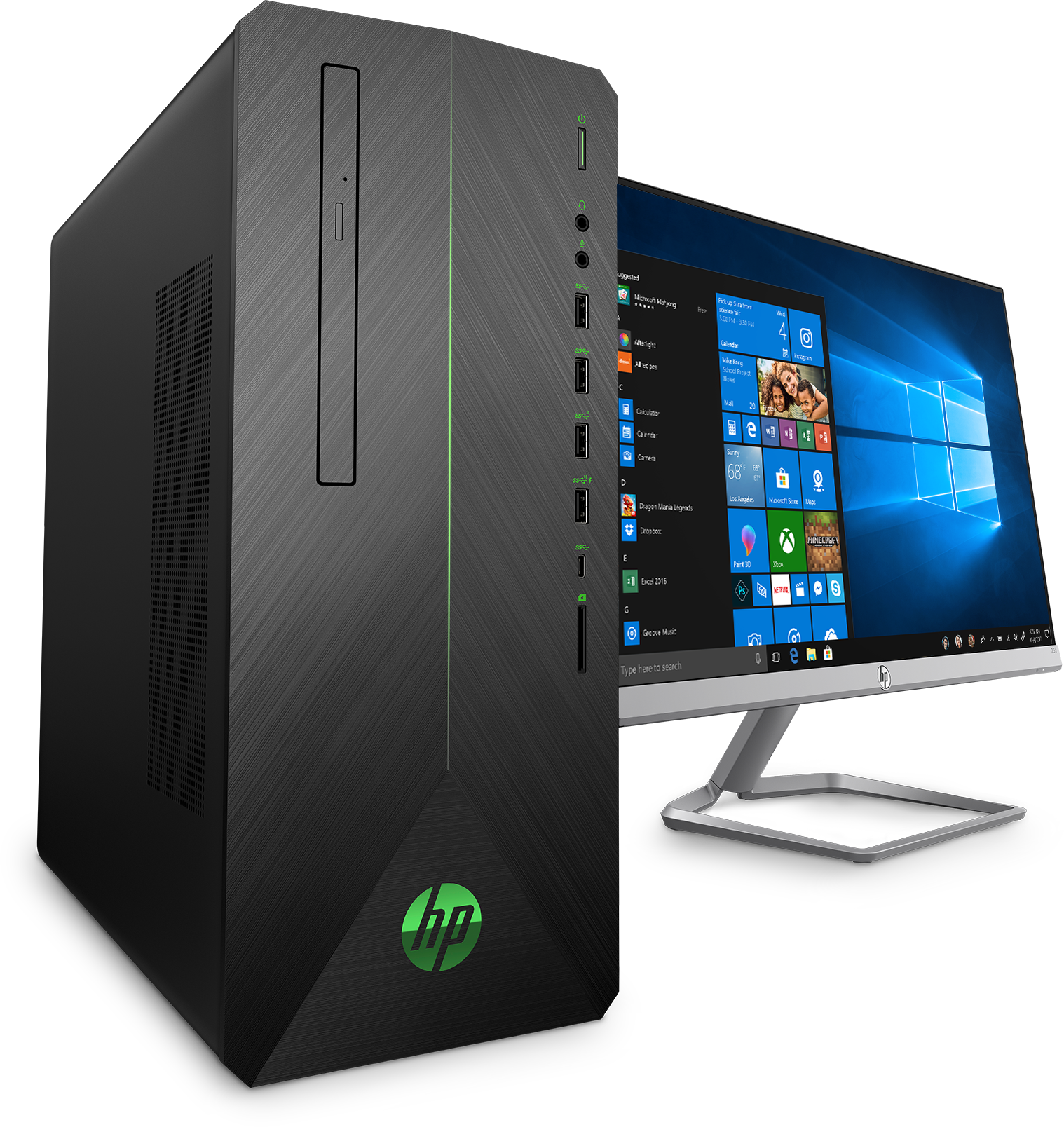 Front right view of the HP Pavilion Gaming Desktop