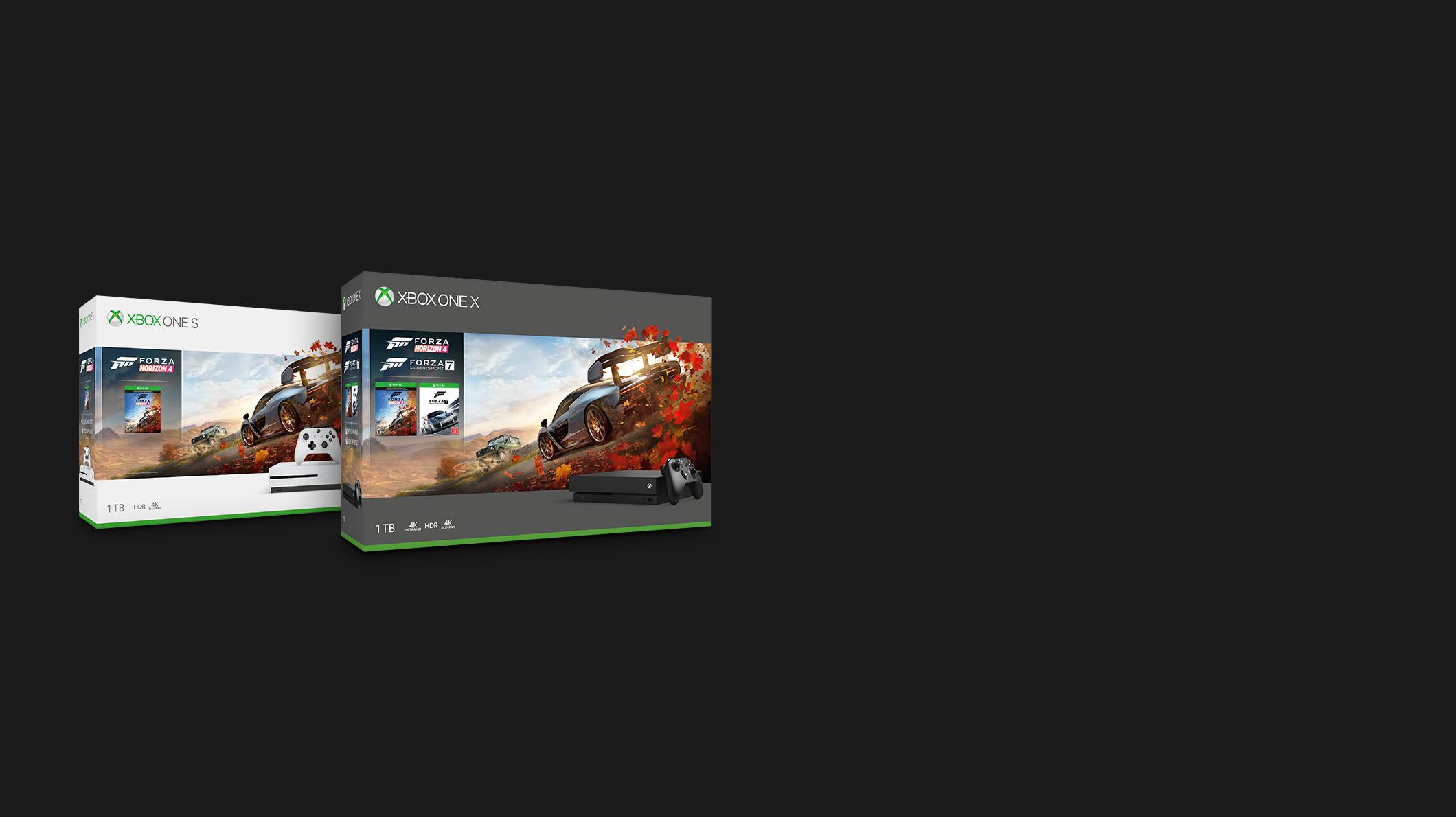 Xbox One X -paketti Xbox One S -paketin vieressä
