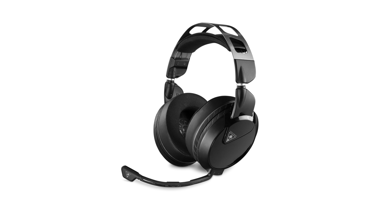 Front left view of the Turtle Beach Elite Atlas Pro headset with the mic