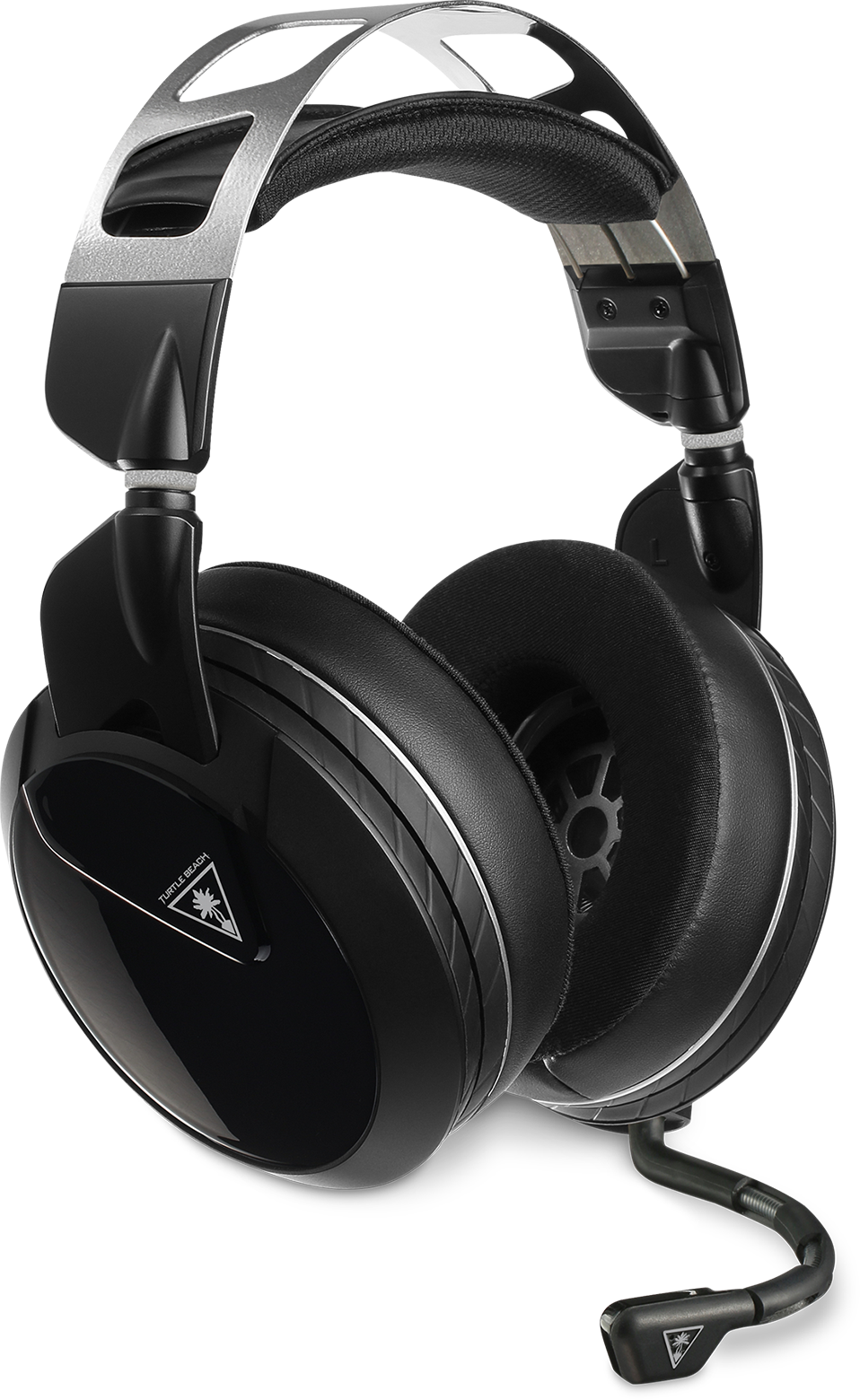 Front right view of the Turtle Beach Elite Atlas Pro headset with the mic