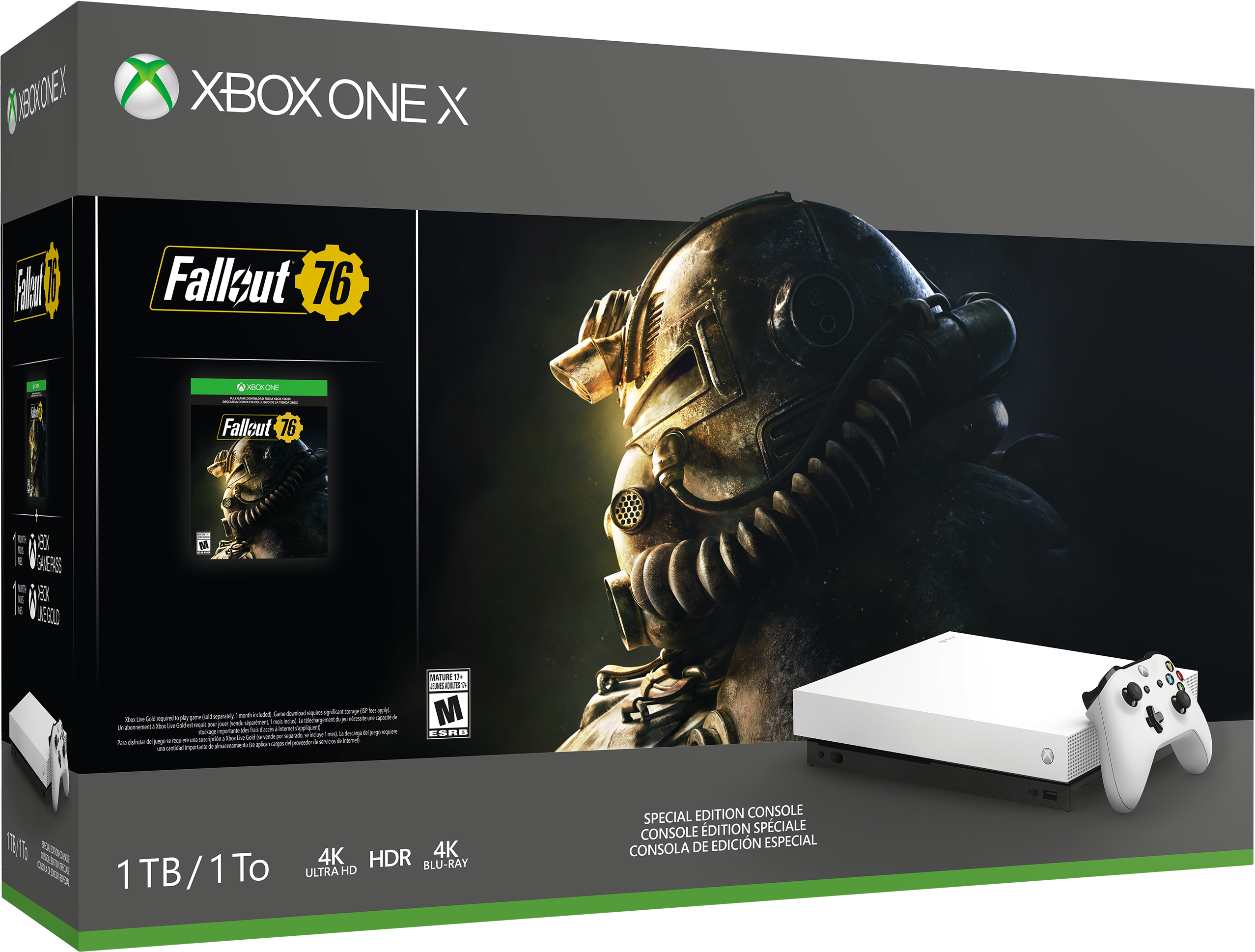 Xbox One X Robot White Fallout 76 bundles with box art