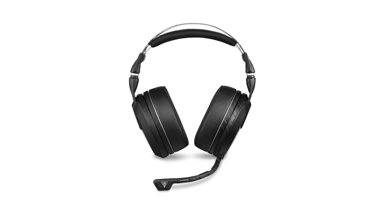 Front view of the Turtle Beach Elite Atlas Pro headset with the mic