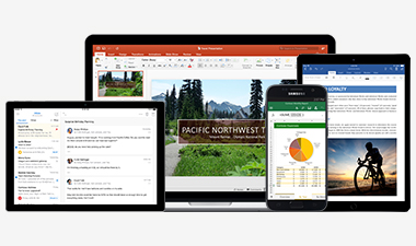 PowerPoint on a Surface tablet, a Windows laptop, an iPad, and a Windows phone