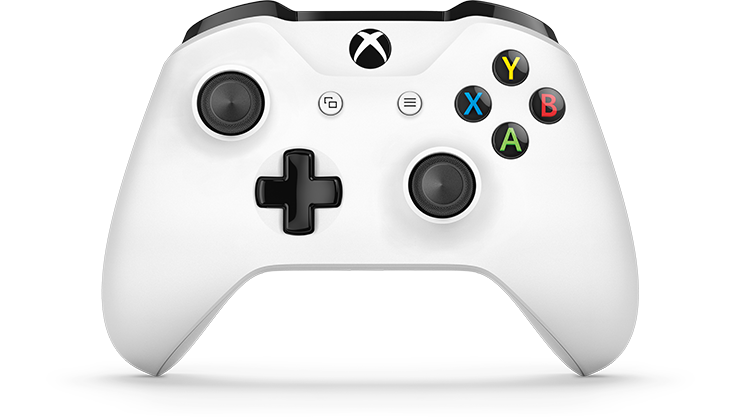 Front view of white Xbox One wireless controller