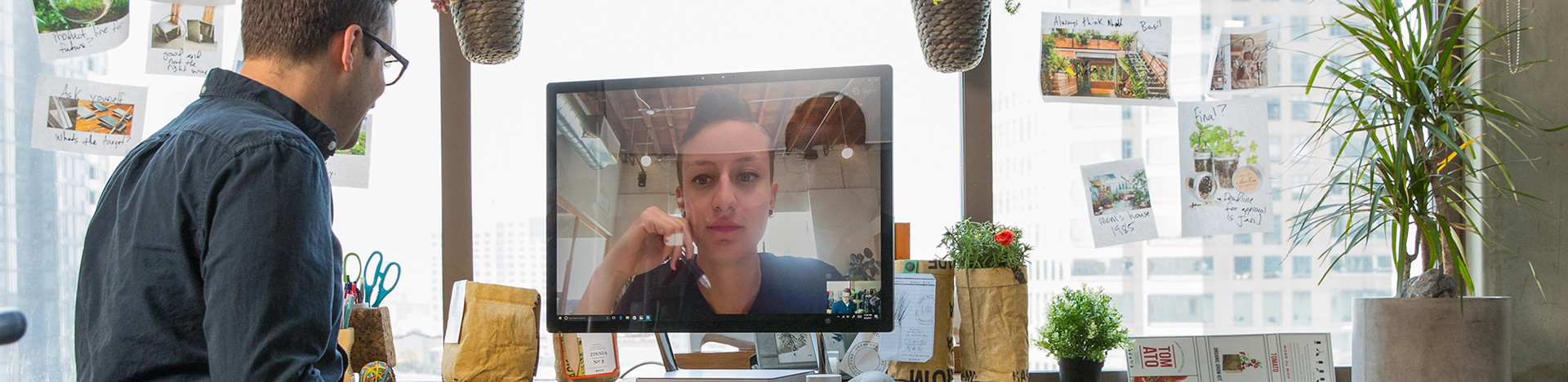 Two people in a videoconference