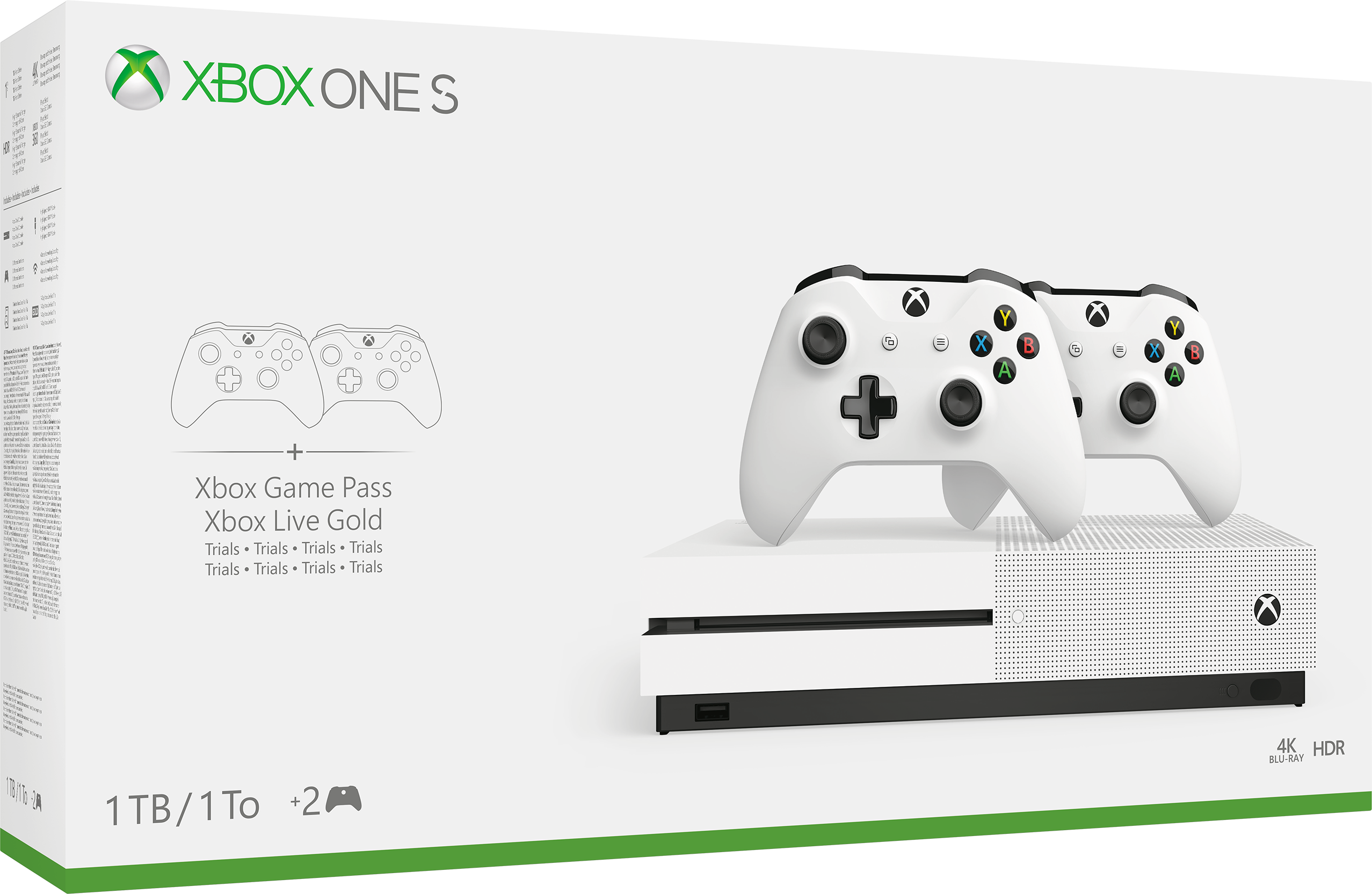 Xbox One S 1TB Console with Two-Controller Bundle box