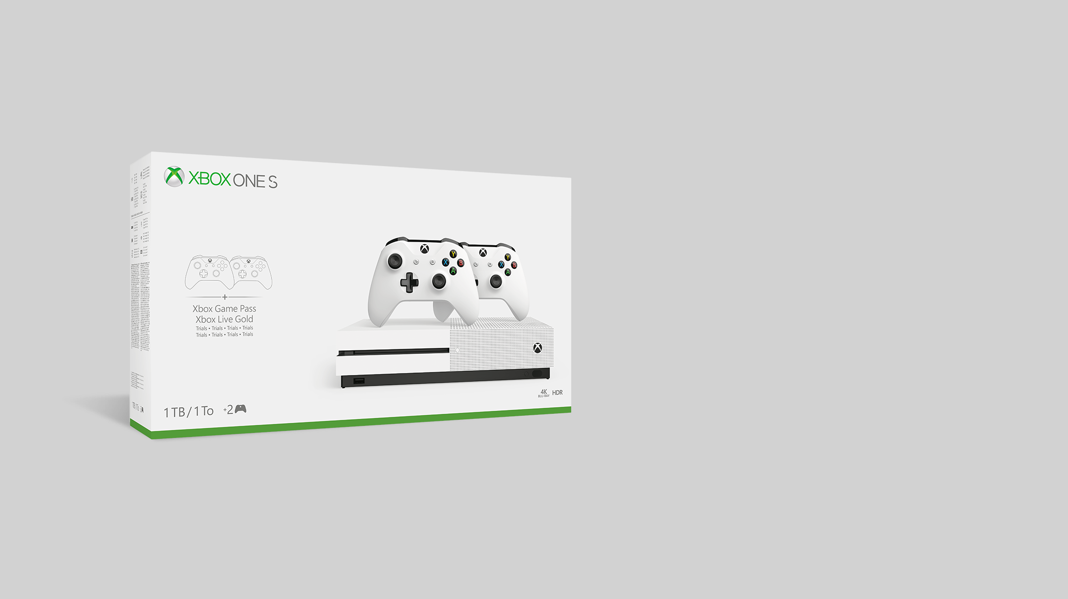 Xbox One S console, 2 Xbox controllers in white bundle