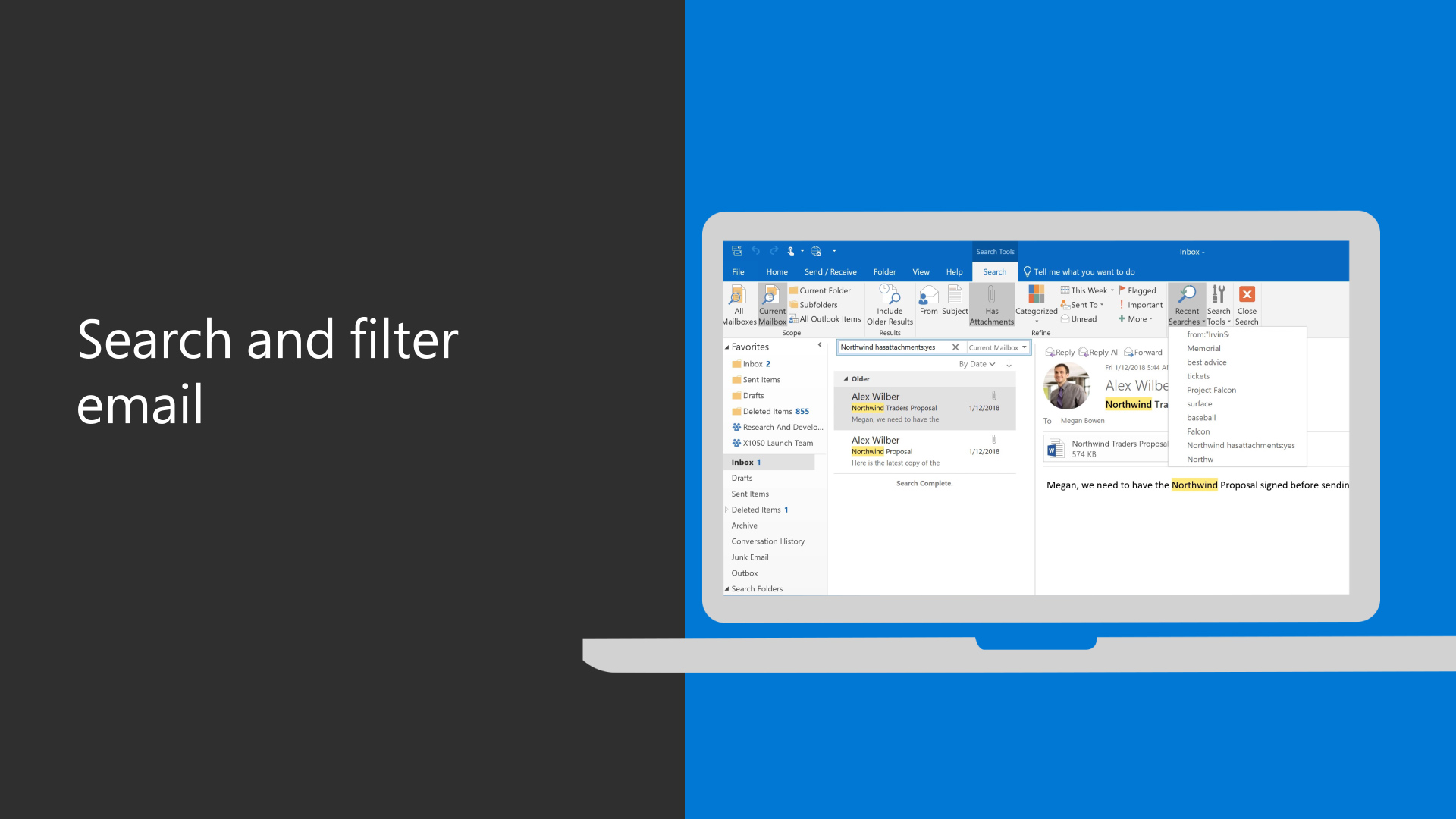 Video: Search and filter email - Outlook